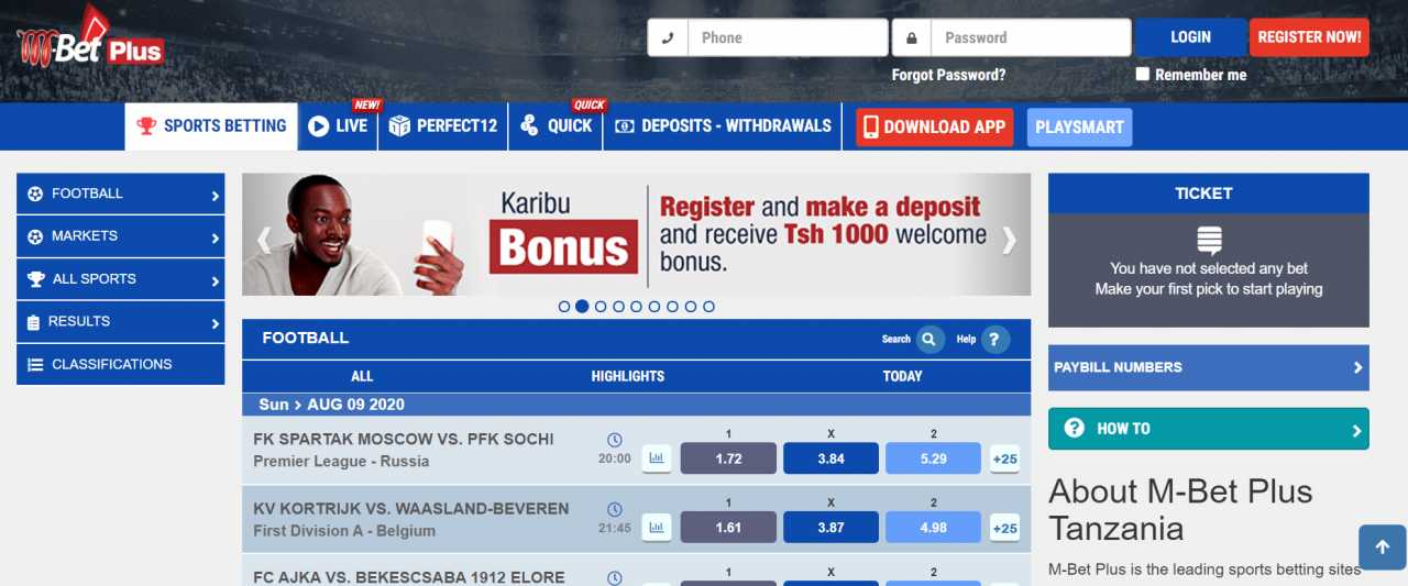 Registration on the M-Bet site via Android app
