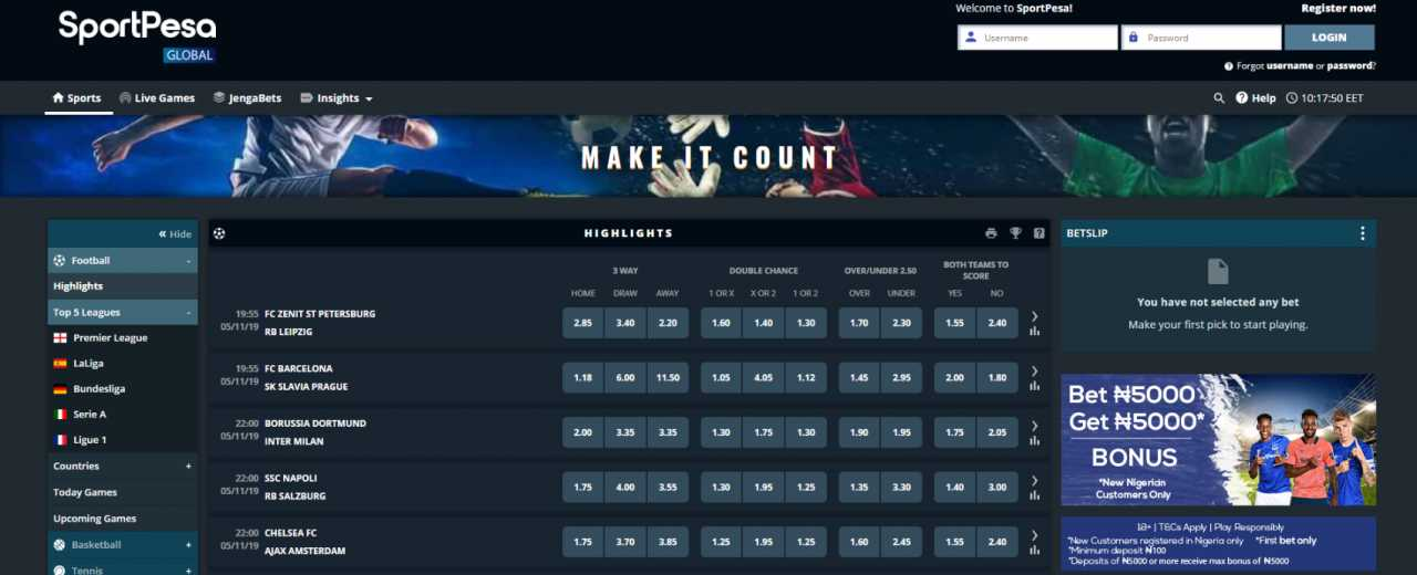 What does the sportsbook of the SportPesa betting site include?